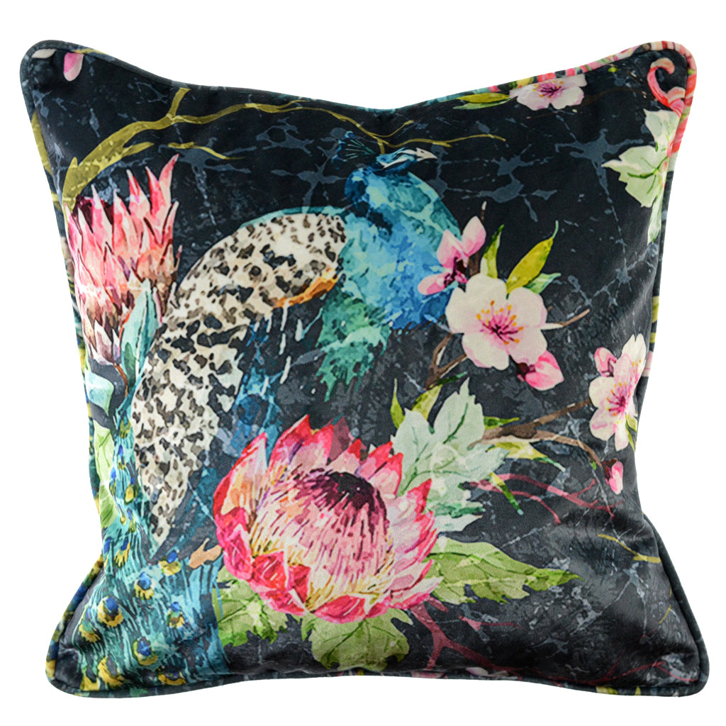 "Walter Knabe Pillow 20"" Velvet Elegant Peacock Grey"