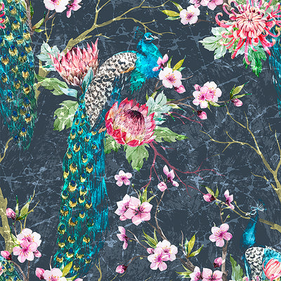 Walter Knabe Elegant Peacock Machine Printed Wall Covering