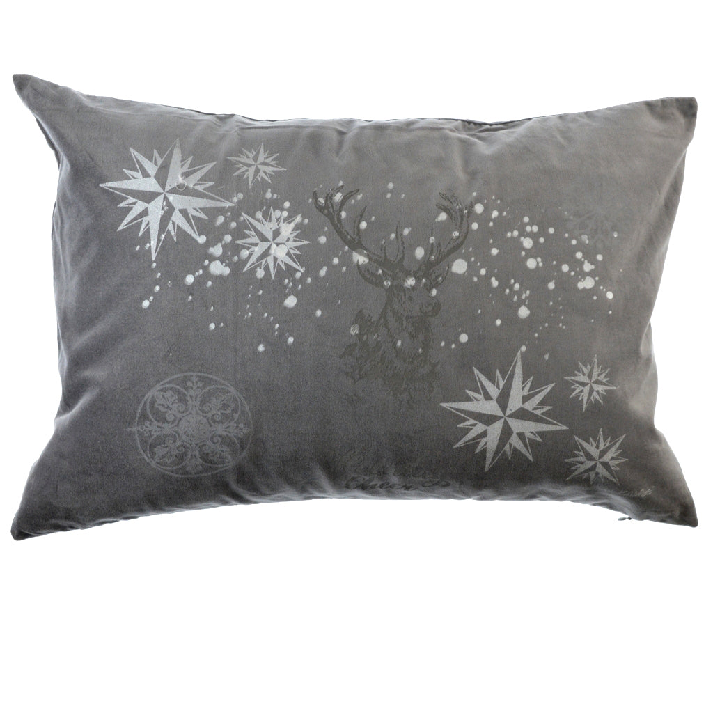 Walter Knabe Hand Printed Holiday Pillow Grey Holiday Cheer