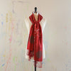 Walter Knabe Hand Printed Pashmina Scarf Merry Everything Red