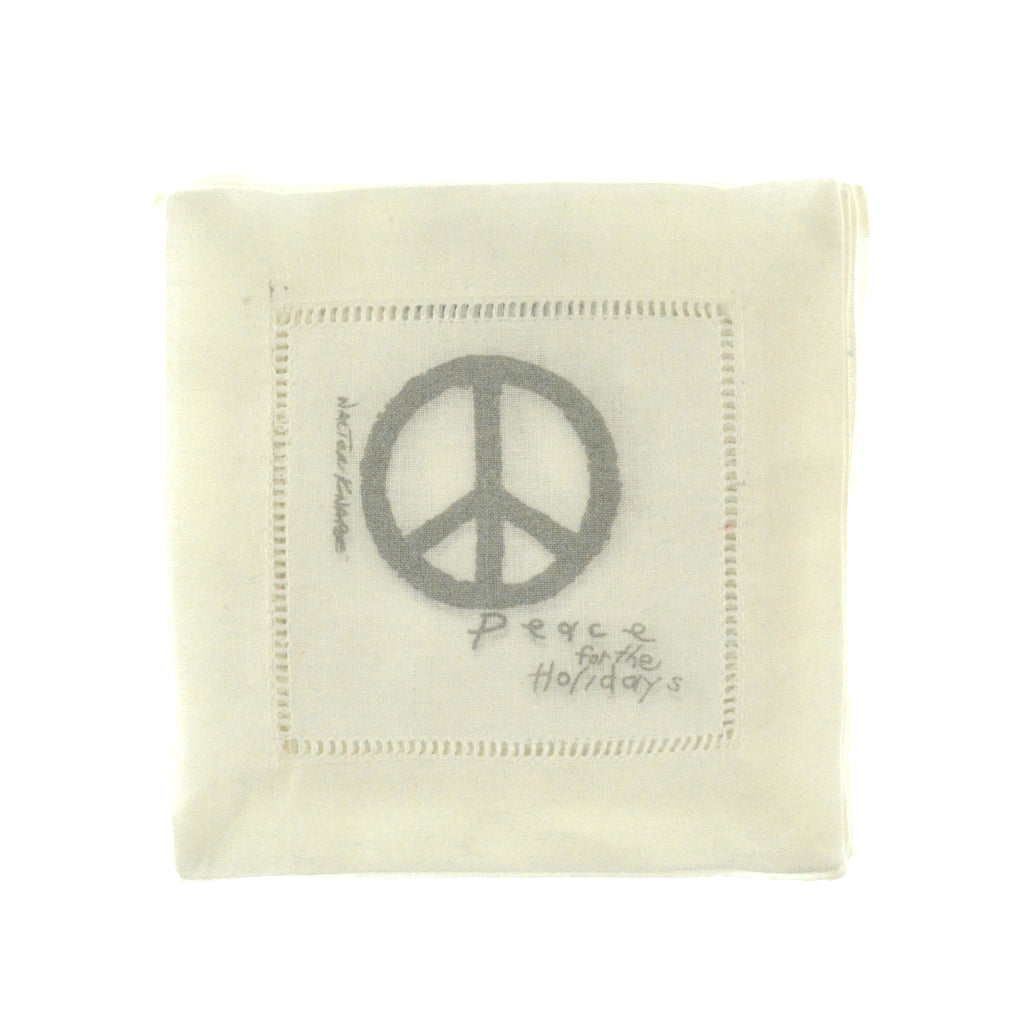 Walter Knabe Hand Printed Cocktail Napkin Set Peace For The Holidays Silver
