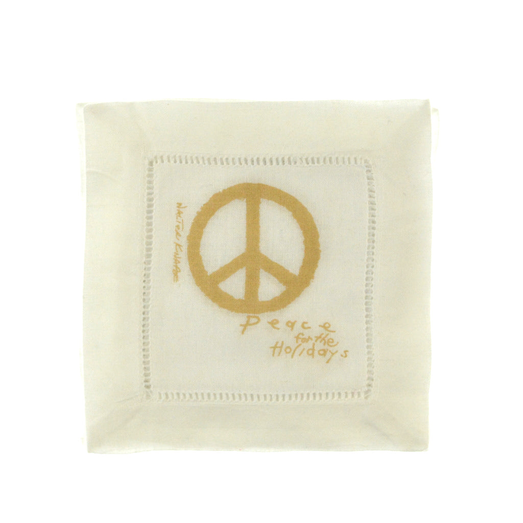 Walter Knabe Hand Printed Cocktail Napkin Set Peace For The Holidays Gold