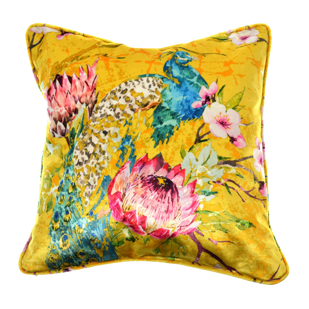"Walter Knabe Pillow 20"" Velvet Elegant Peacock Yellow"