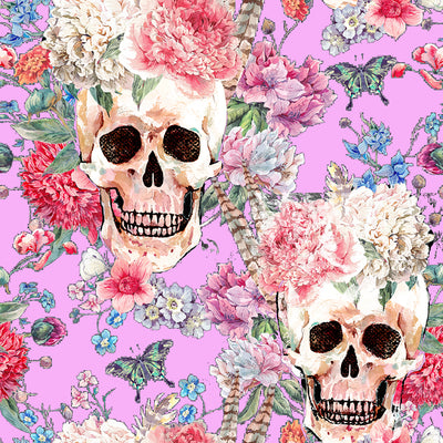 Walter Knabe Skull Floral Machine Printed Wall Covering