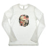 Walter Knabe Womens Long Sleeve T Shirt Skull Floral Black