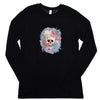 Walter Knabe Women'a Long Sleeve T Shirt Skull Floral Light Blue