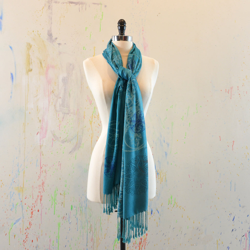 Walter Knabe Hand Printed Pashmina Scarf Ancient Icons