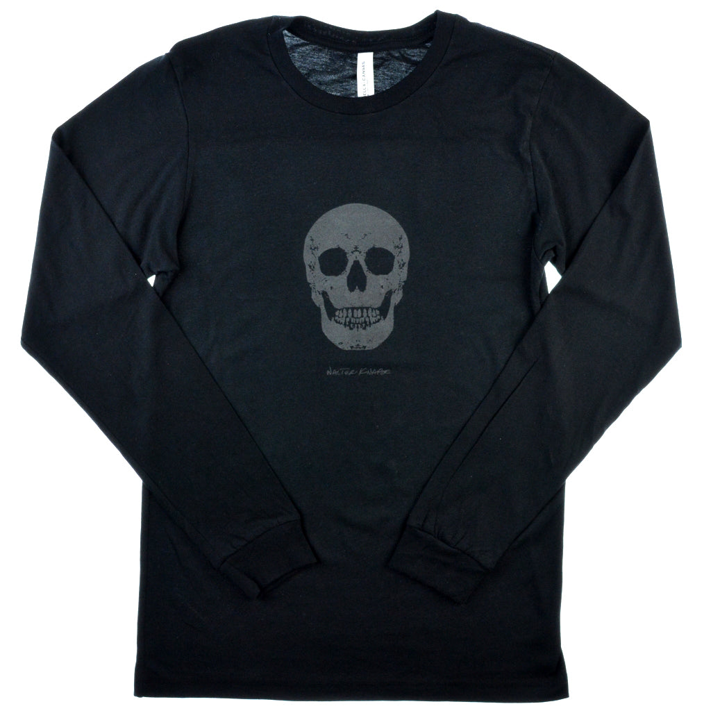Walter Knabe Unisex Long Sleeve T Shirt Skull  Black