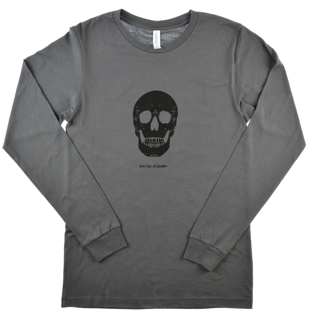 Walter Knabe Unisex Long Sleeve T Shirt Skull  Grey