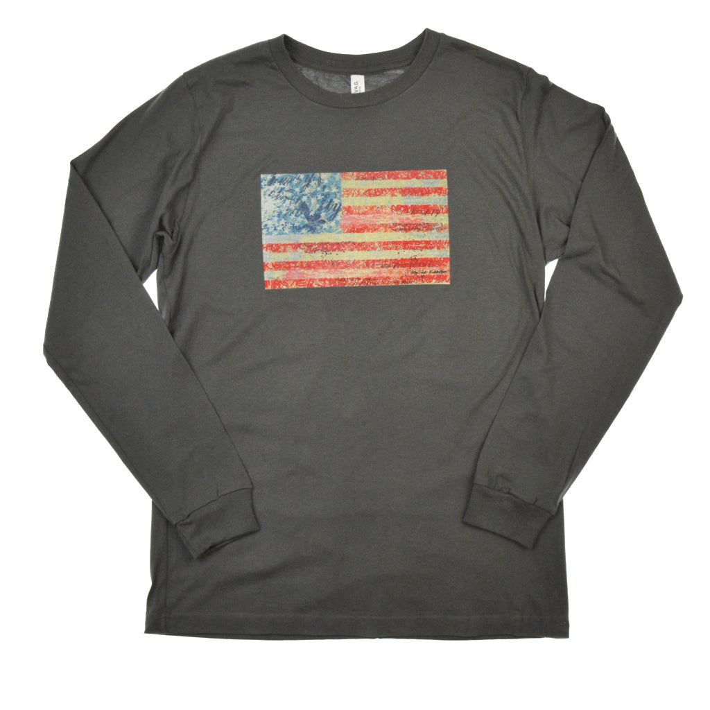 Walter Knabe Unisex Long Sleeve T Shirt Flag Grey