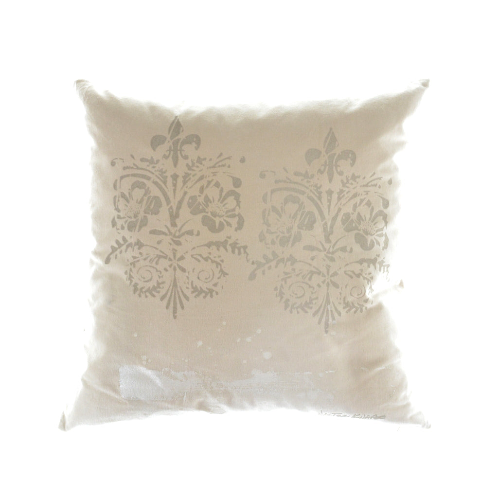 Walter Knabe Pillow Hand Printed Cream Double Damask