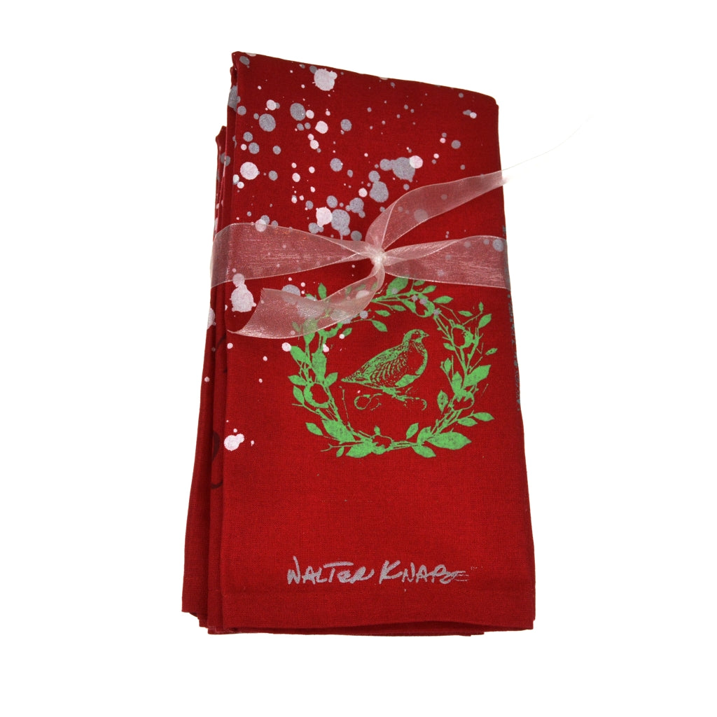 Walter Knabe Hand Printed Napkin Set Holiday Partridge In A Pear Tree