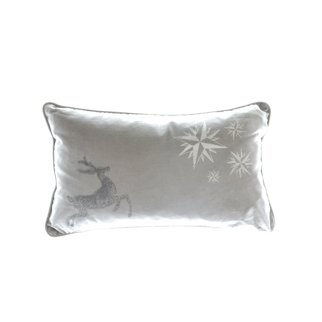 Walter Knabe Hand Printed Holiday Pillow Light Grey Reindeer
