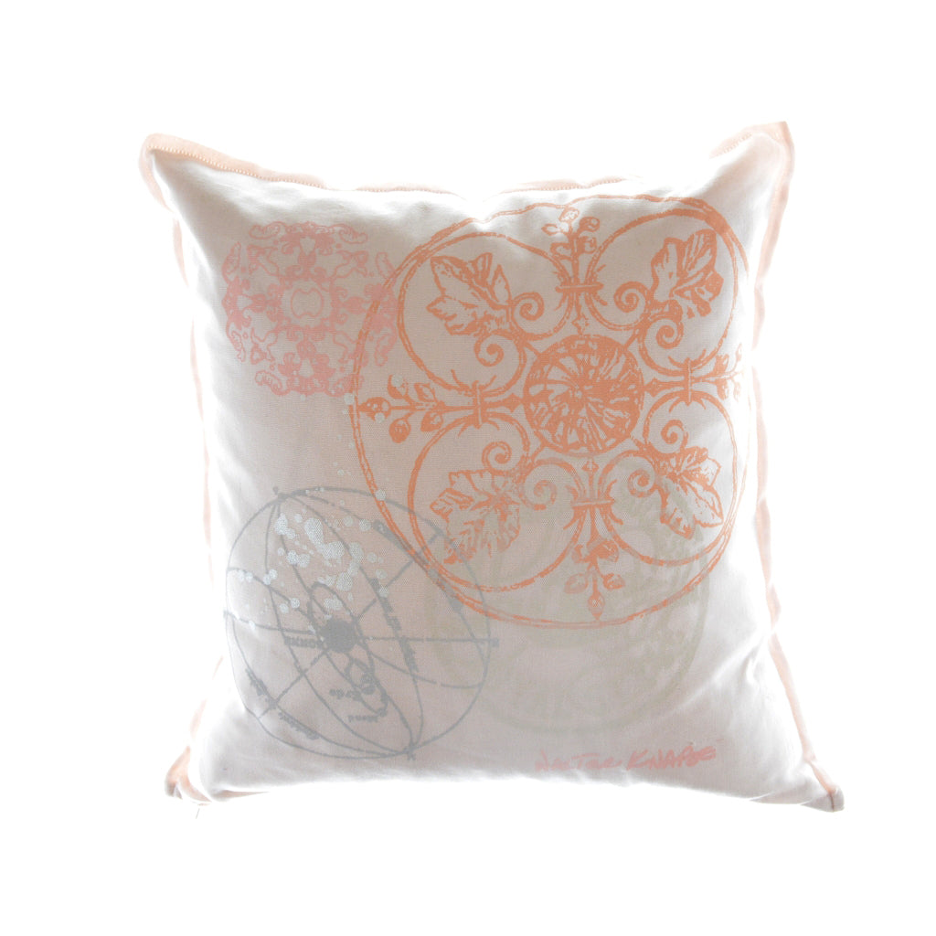 Walter Knabe Pillow Hand Printed Light Pink Celestial Orb