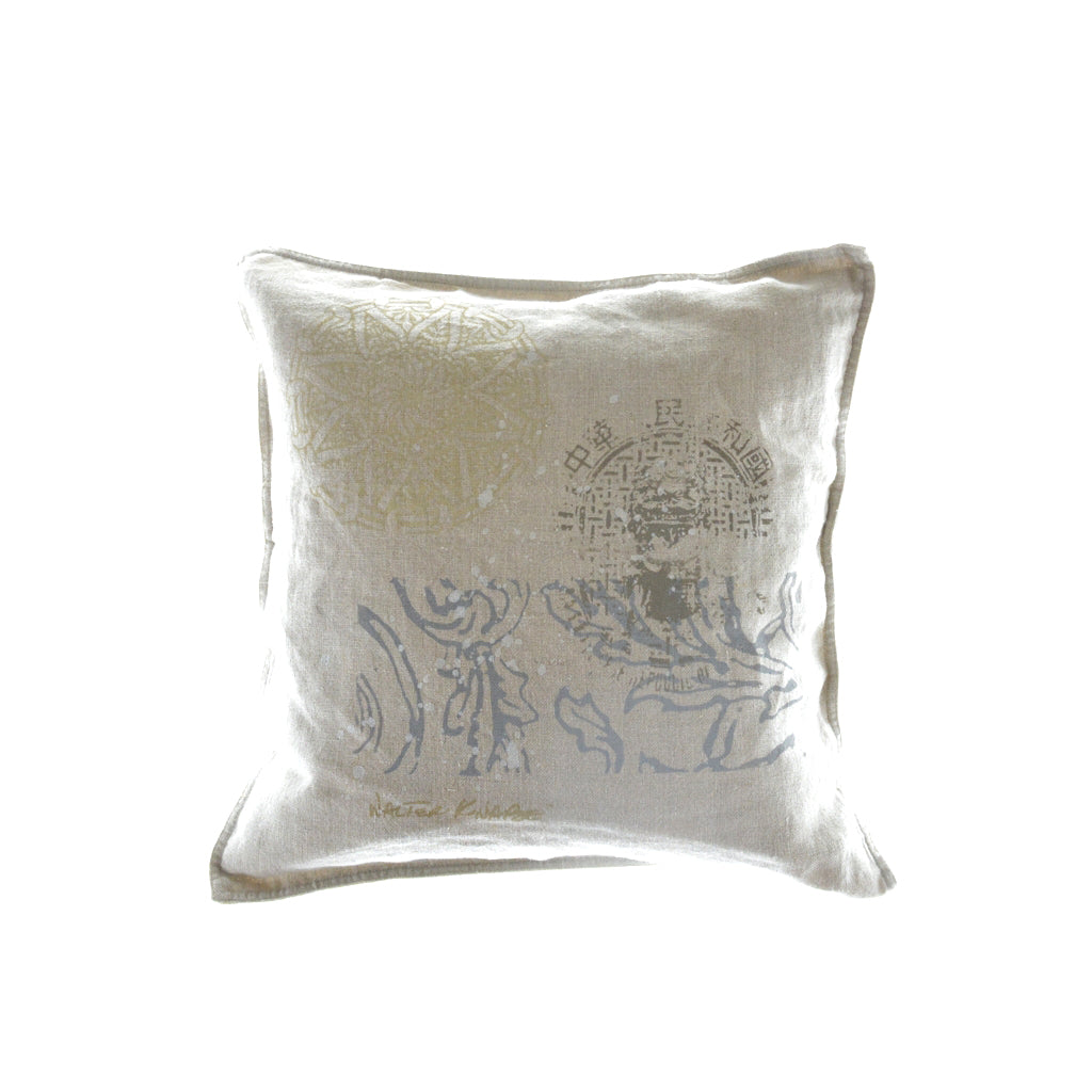 Walter Knabe Pillow Hand Printed Beige Spring Enchantment