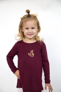 Open Back Long Sleeve Kids Tee- Texas State