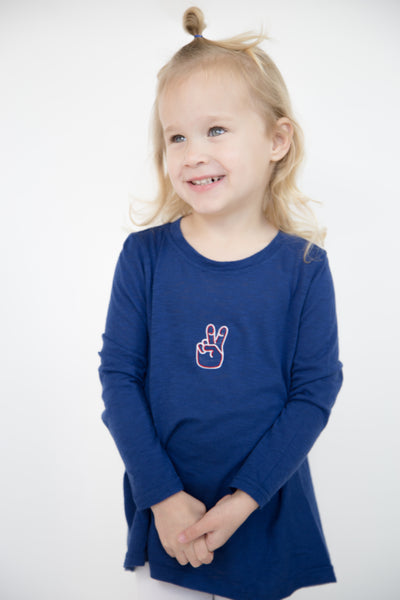 Open Back Long Sleeve Kids Tee- SMU