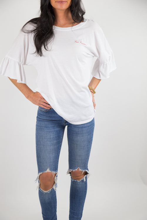 RUFFLE SLEEVE TEE TEXAS TECH