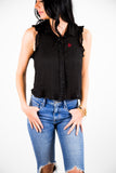 RUFFLE BUTTON DOWN TANK  - TEXAS TECH