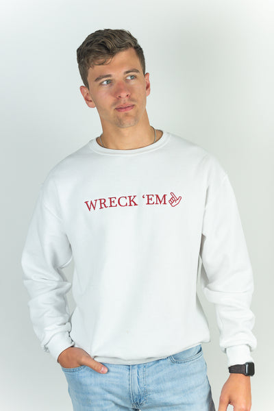 WRECK 'EM WHITE UNISEX SWEATSHIRT - TEXAS TECH