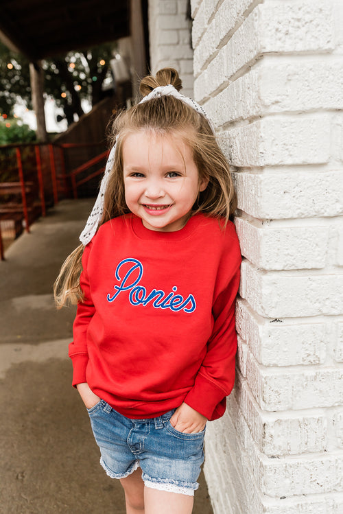 KIDS RED PONIES SWEATSHIRT - SMU