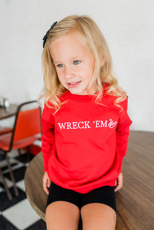 KIDS RED WRECK 'EM SWEATSHIRT - TEXAS TECH