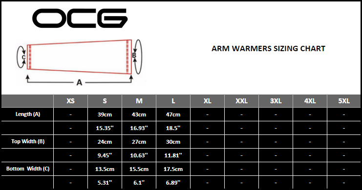 OCG Cycling Arm Warmers Sizing Chart