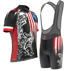 Men's Honor the Fallen USA Flag Short Sleeve Cycling Kit
