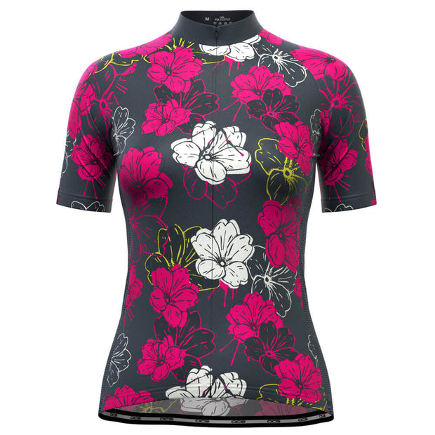 Women's Pink Floral Short Sleeve Cycling Jersey