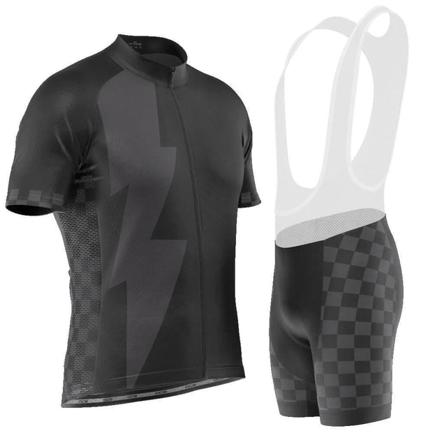 Men's Black Lightning Checkered Pro Band Cycling Kit