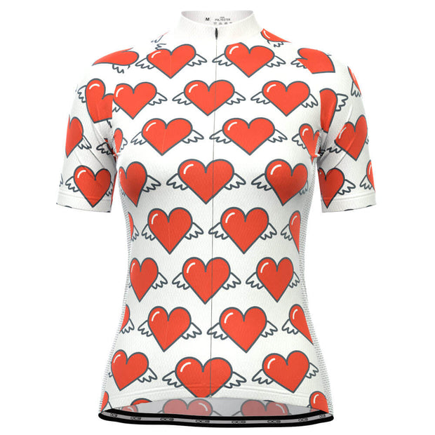 Women's Heart Angels White Short Sleeve Cycling Jersey