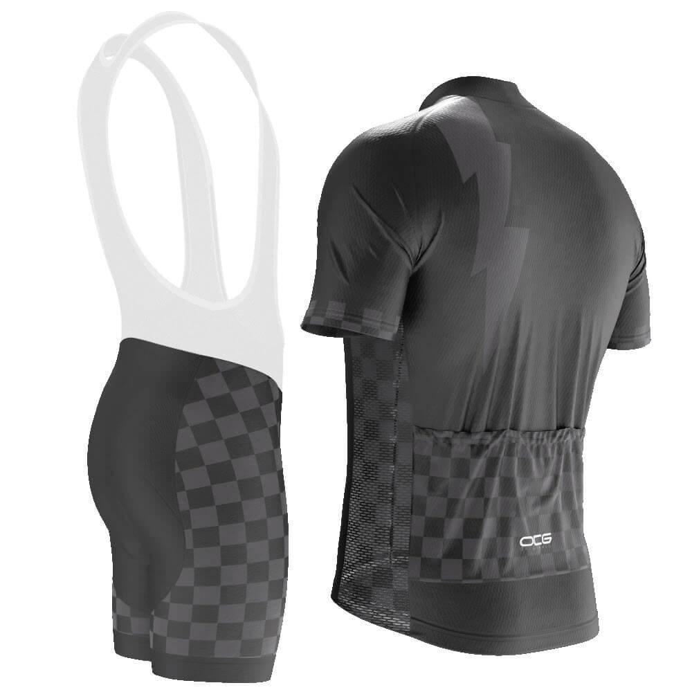 Men's Black Lightning Checkered Pro Band Cycling Kit - Online Cycling Gear