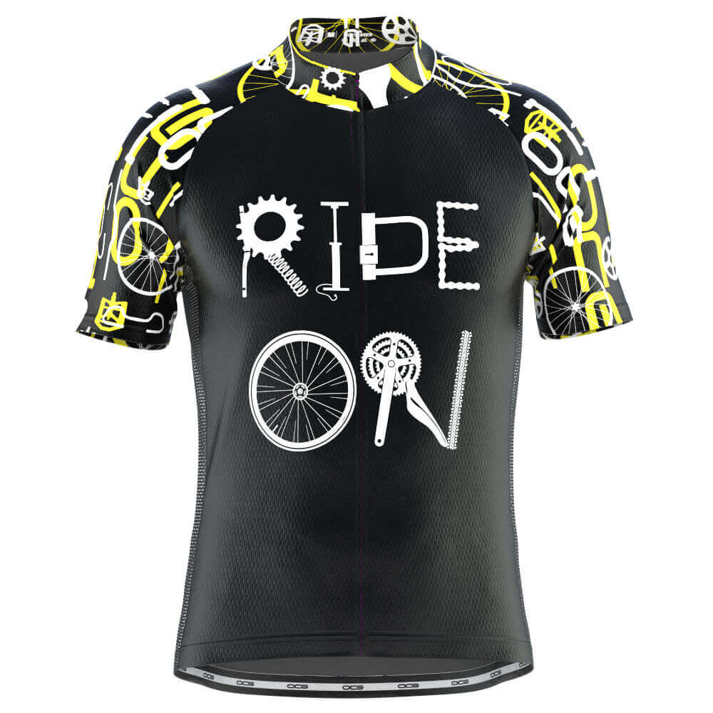 Men's Ride On Short Sleeve Black Cycling Jersey