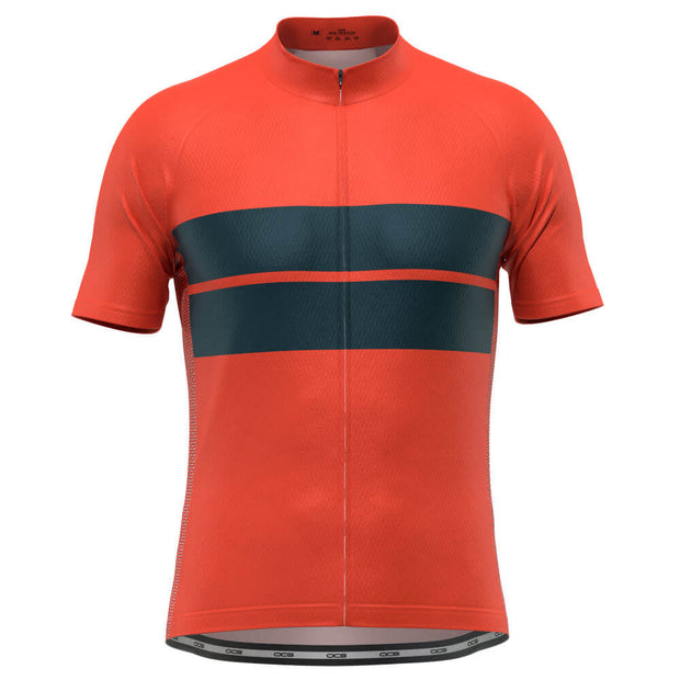 Men's Retro Two-Stripe Orange Short Sleeve Cycling Jersey