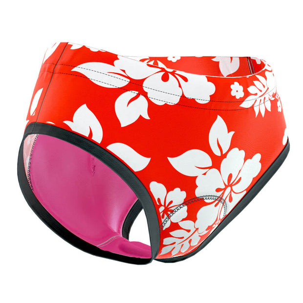 Women's Hawaiian Hibiscus Padded Cycling Underwear Briefs