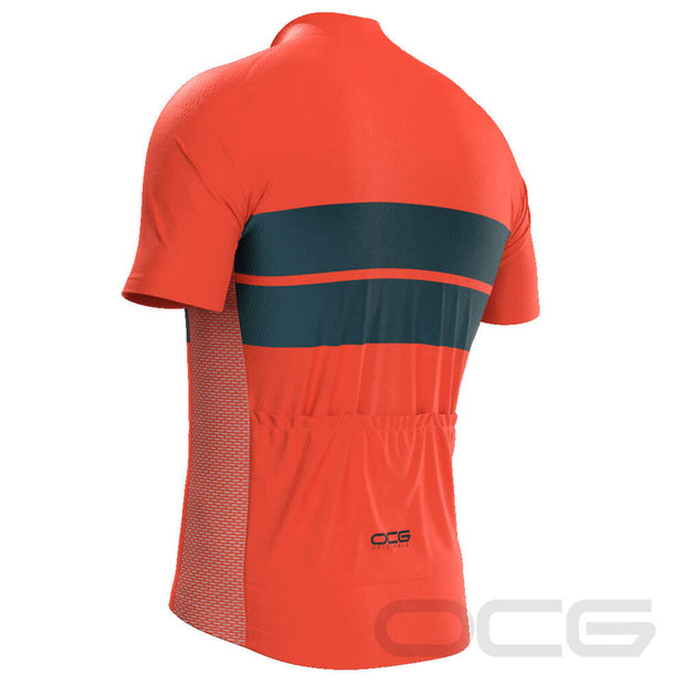 Retro Two-Stripe Orange Cycling Jersey