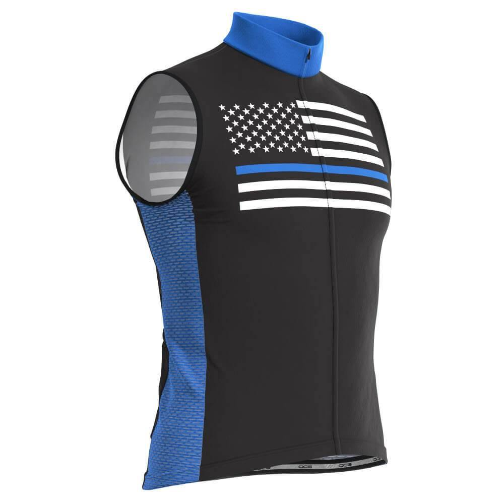 Men's Blue American Flag Sleeveless Cycling Jersey - Online Cycling Gear