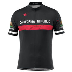 Men's California Republic Black Short Sleeve Cycling Jersey