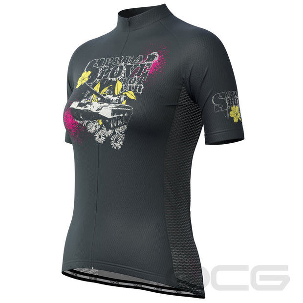 Women's Spread Love Not War Short Sleeve Cycling Jersey