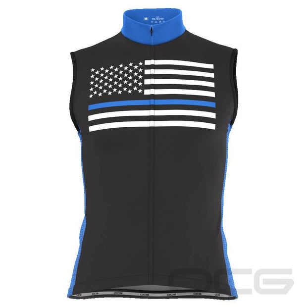 Men's Blue American Flag Sleeveless Cycling Jersey
