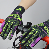 DV Purple Skull Touch Screen Gel Padded Winter Cycling Gloves