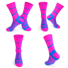 DV High Viz Pink Blue Stripe Pro Cycling Socks