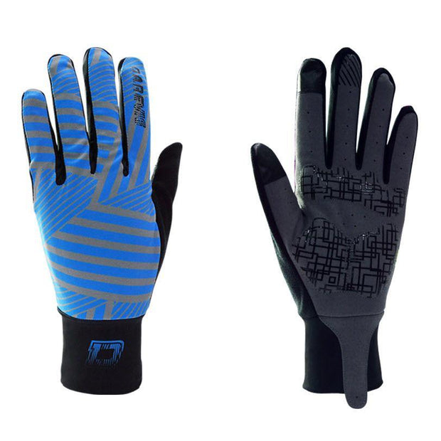 DV Blue Striped Touch Screen Gel Padded Winter Cycling Gloves