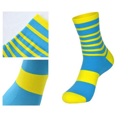 DV Yellow Stripe Mid-Length Pro Cycling Socks