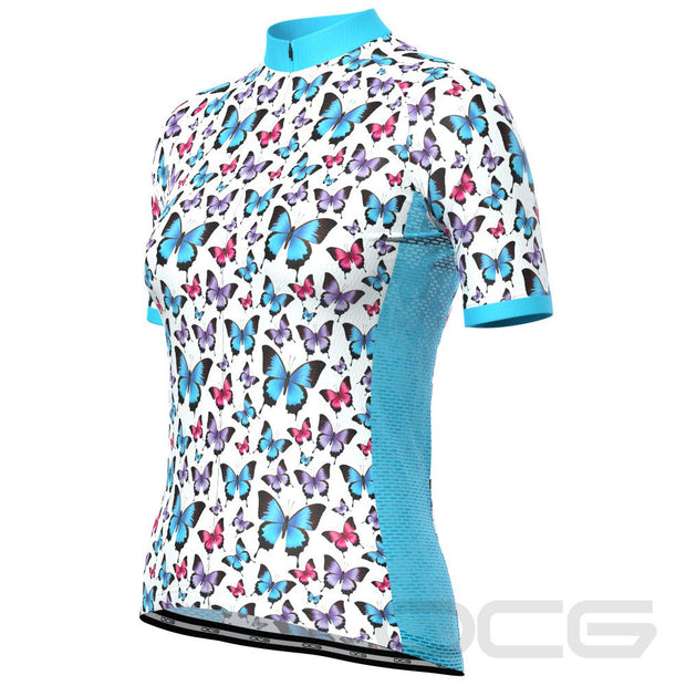 Women's Blue Butterfly Short Sleeve Cycling Jersey