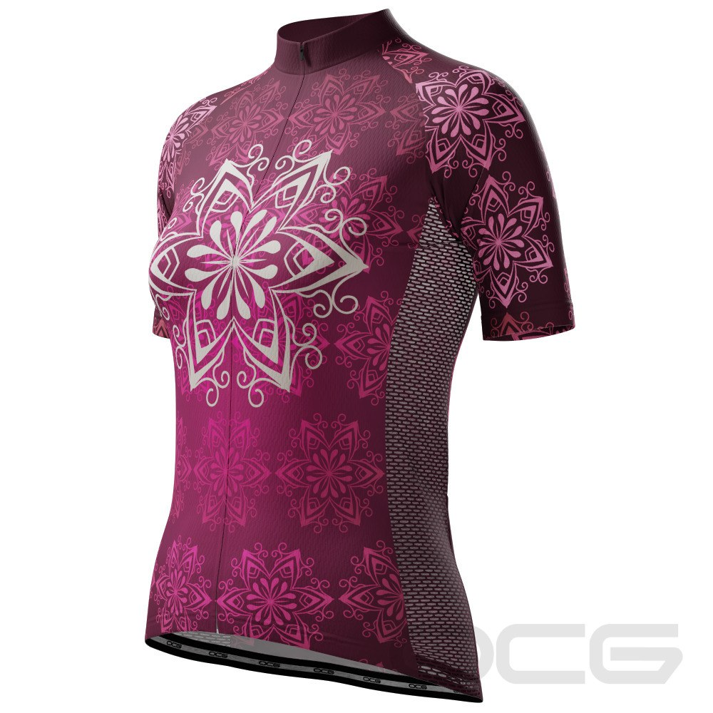 Women's Bold Mandala Short Sleeve Cycling Jersey