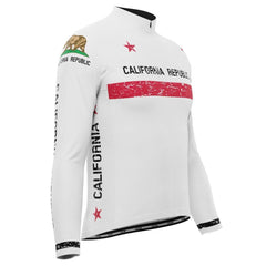 Men's California Republic Flag Long Sleeve Cycling Jersey