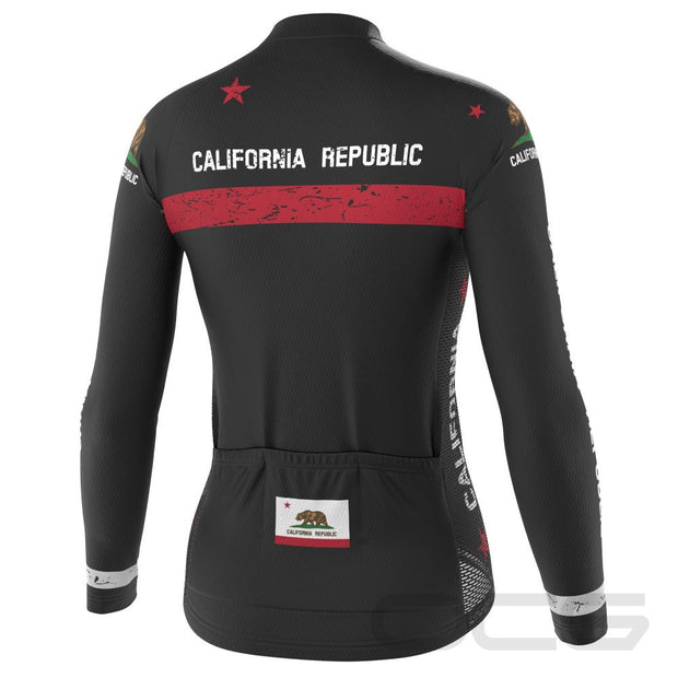 Women's California Republic Flag Long Sleeve Cycling Jersey