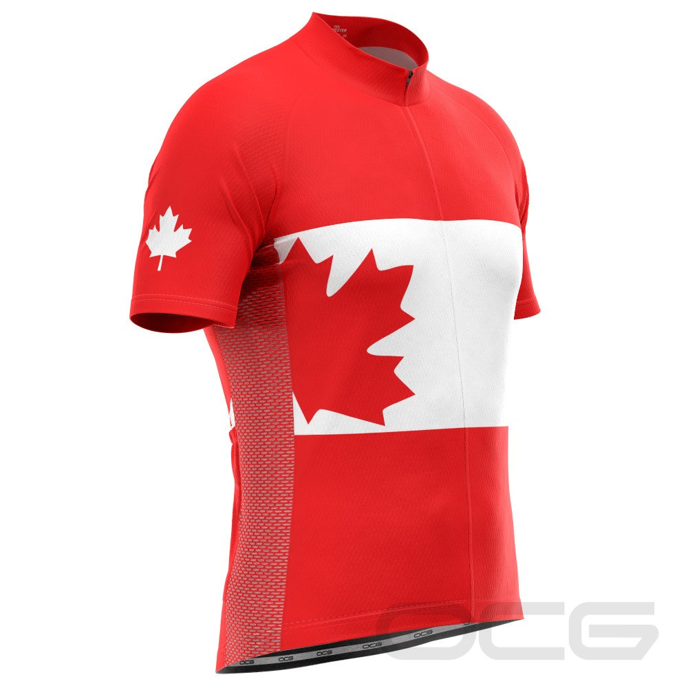 Men's Canadian Maple Leaf Short Sleeve Cycling Jersey