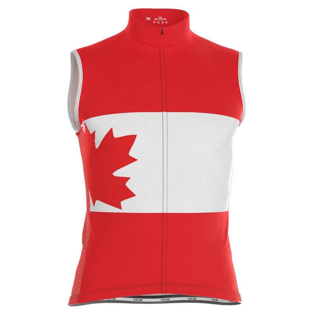 Men's Canada Flag Maple Leaf Sleeveless Cycling Jersey